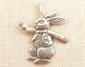 SALE ----- Vintage Sterling Suit and Bow Tie Bunny Pendant