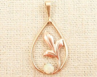 Vintage 10k Gold and Opal Fallen Leaf Tear Drop Pendant