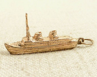 Vintage Gold Plated Large Ship Charm