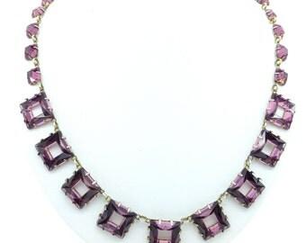 Rare Art Deco Vauxhall glass necklace c1920's Amethyst/Purple square Vintage Czech jewellery 1920's 1930's mirror glass