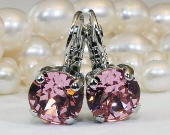 Pink Crystal Earrings Pink Swarovski Drop Earrings Silver Earrings Pink Wedding Pink bridesmaids single stone Earrings,Silver,Light Rose,SE2
