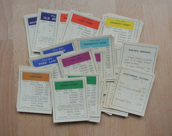 Complete Set of Grungy Vintage Monopoly Property Cards x 28 for Crafting