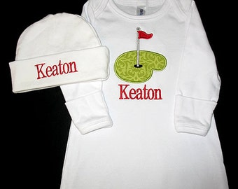Custom Personalized Applique PUTTING GREEN and NAME Gown and Hat Set - Lime Green and Red