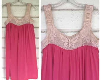 VINTAGE Edwardian filet CROCHET butterfly slip dress