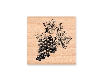 GRAPE CLUSTER~Rubber Stamp~Grapes~Wine Stamp~Dinner Invitation or Hostess Thank You Stamp~Bottle of Wine Stamp~wood mounted stamp- (32-10)