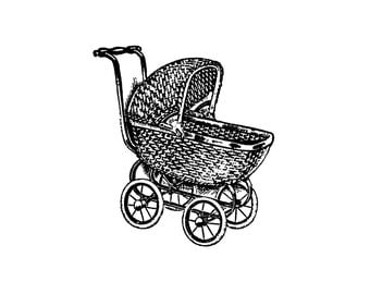 Baby Carriage Rubber Stamp~Unmounted Cling Stamp~Vintage Stroller~Old Fashioned Baby Buggy~Pram~DIY Baby Announcements~Baby Shower (50-20)