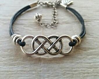 Womens Leather Bracelet// Infinity Charm Bracelet// Friendship Bracelet// Choose ONE Charm and Leather Color// Gift Under 20