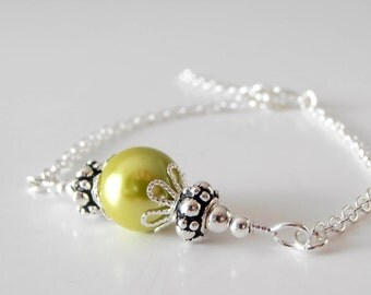 Bridesmaid Jewelry, Apple Green Pearl Bracelet, Chain Bracelet, Simple Wedding Jewelry, Bridesmaid Sets, Beaded Jewelry, Chartreuse