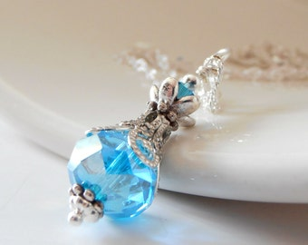 Aquamarine Crystal Necklace, Bridesmaid Necklace Crystal Pendant, Blue Wedding Jewelry, Bridesmaid Gift, Sterling Silver Chain 16 or 18 Inch