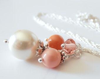 Coral Pearl Necklaces for Bridesmaids, Bead Cluster Necklace, Coral Wedding Jewelry Sets, Bridesmaid Necklaces, Swarovski Elements, Silver