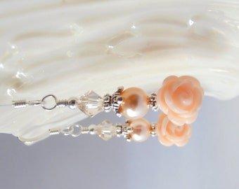 Peach Bridesmaid Earrings, Light Peach Flower Dangles, Matching Jewelry Sets, Bridesmaid Gift, Pearl and Crystal Beaded Wedding Jewelry
