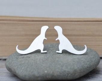 T-Rex Earring Studs In Sterling Silver, Dinosaur Earring Studs, Handmade In The UK