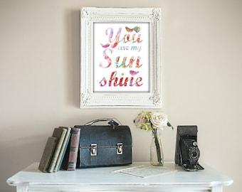 PINK You Are My Sunshine Print Bird Pink Nursery Art, Wall Art Prints