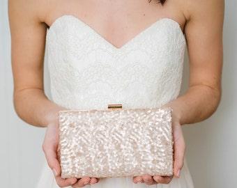 Rose Gold Clutch | Gold Wedding Clutch | Sequin Clutch | Blush Bridal Clutch [Ella Box Clutch]