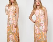 Vintage 60s PSYCHEDELIC Maxi Dress MOD Evening Dress Sleeveless Pastel Cocktail Dress with BOW