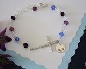 Sideways Cross Bracelet Personalized, Mom Bracelet, Birthstone Bracelet, Sterling Silver Cross Sideways, Monogram Bracelet