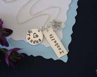 Grandma Necklace Personalized, Mother Gift, Nana Necklace, Butterfly, Sterling Silver Necklace, Monogram, Mothers Day Gift,