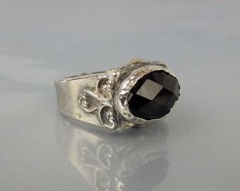 Father's Day Ring, Men's Onyx Ring, Onyx Pirate Ring, Statement Ring, Black Onyx Ring, Unique Men's Ring, Onyx Jewelry
