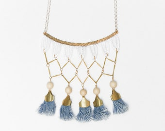 Lace necklace - CALI - White lace with vintage brass chain, exotic beads and denim blue fringe tassels