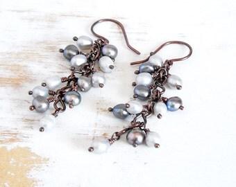 Grey Pearl Earrings, Handmade Copper Jewellery, Freshwater Pearl Earrings, Pearl Dangle Earring, Dainty Earrings, Hand Forged