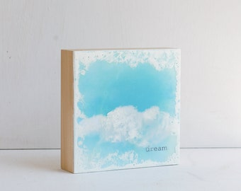 DREAM Encaustic Photo Painting  White Clouds Blue Sky Painting