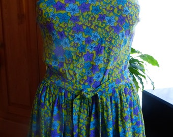 Vintage 60s Skirted Swimsuit one piece SZ M/L chartreuse/purple/turquoise floral