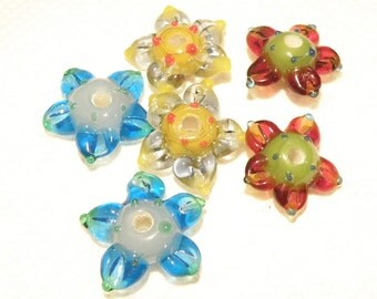 20% OFF --- DESTASH -- Six (6) Assorted Colors Lampwork Flower Blossom Beads