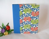 Photo album -red and green peony on blue scroll katazome -  8x10in 20.5 x 24.5cm - Ready to ship