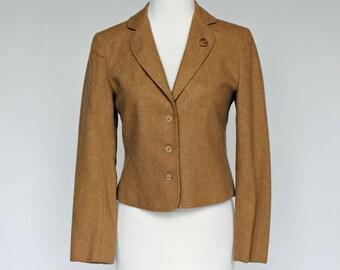 60's / 70's Cropped Wool Jacket / Camel Blazer / Bobbie Brooks / XSmall