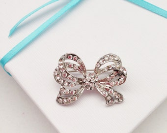 Silver Rhinestone Small Bow Brooch Pin For Bridal Sash Or Wedding Bouquet DIY Embellishment