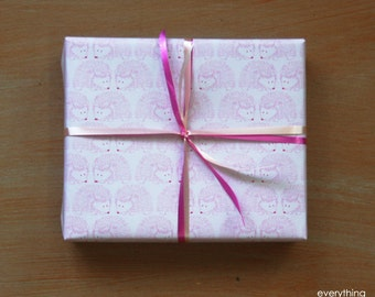 "Small Gift Wrapping Paper // Pink Hedgehogs - 12.5"" x 18.75"""