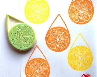 citrus slice stamp. lemon lime orange hand carved rubber stamp. lemonade stand. birthday scrapbooking. gift wrapping. summer crafts
