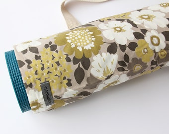 Yoga Mat Bag, Pilates, Yoga Mat Carrier, Womens Yoga Bag, Brown, White and Mustard Floral