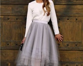 SKIRT Assymetrical Grey Tulle Custom with Satin Lining