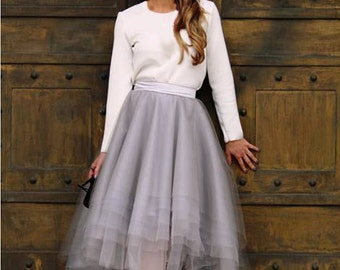 SKIRT High-Low Assymetrical Grey Tulle Custom with Satin Lining Bridal Separates/Robe de Mariée