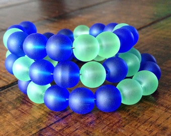 Blue and Green Frosted Glass Memory Wire Bracelet