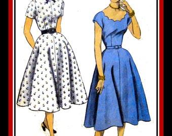 Vintage 1952-Twirl Dress-Sewing Pattern-Two Styles-Scoop Scalloped Neckline-Short Sleeves-Flirt Skirt-Detachable Collar- Belt-Size 14-Rare