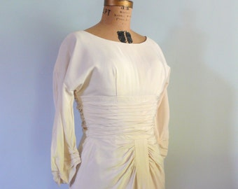 vintage 1960s Dress  // Cream Rayon Ruched Dress
