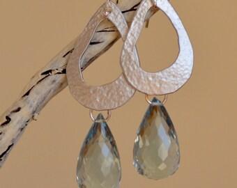 Blue Quartz Teardrop Earrings. Sky Blue Large Silver Earrings. Luxury Gemstone Earrings. Mixed Metal Earrings. Fine Jewelry.