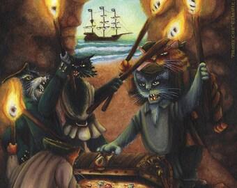 Pirate Cove Treasure Cave Cat Art 8x10 Fine Art Print