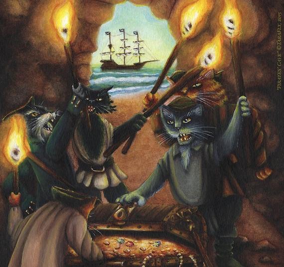 Treasure Island Pirate Cats 8x10 Fine Art Print