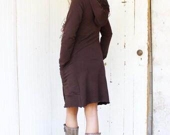 Seattle Hooded Pocket Dress - Organic Fabric - Eco Fashion - Made to Order - Boho Chic