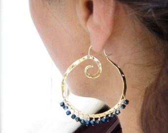 Swirl Hoop with Gemstones - Copper E978 or Bronze E979