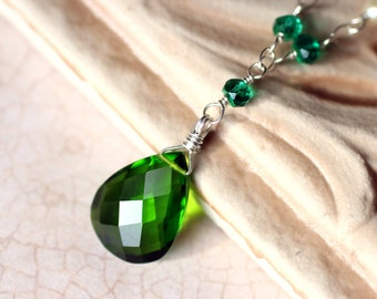 Emerald Quartz Necklace, Green Quartz, Pearls, Sterling Silver - Emerald Forest by CircesHouse on Etsy