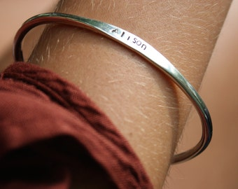 Personalized Hand Stamped Bangle Sterling Silver  Made to Order