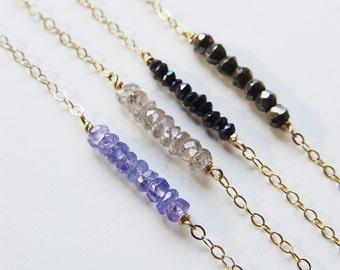Gold Layering Gemstone Necklaces Diamond Sapphire Tanzanite