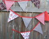 Fabric Bunting Banner - Modern Picnic - Red, White and  Black - Reversible Reusable Flags - Ready to ship