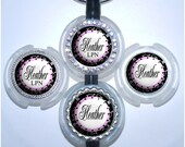 Stethoscope Id - Personalized Pink and Black Nurse Name Tag, Rhinestone Bling Id (A169)