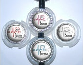 Stethoscope Tag - Personalized ECG and Heart Stethoscope Id Tag in 6 Colors, Cardiology Stethoscope Id (A204)
