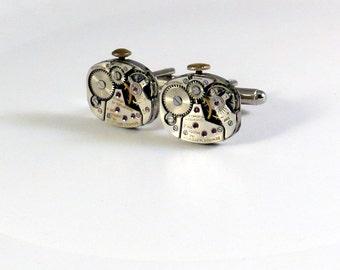 Steampunk Cufflinks - Soldered Watch Movement Cufflinks - Rounded Square Steampunk Cuff Links - Silver Cufflinks - Vintage Watch Cuff Links